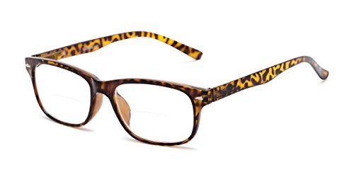 Readers.com Bifocal Reading Glasses: The Williamsburg Bifocal for Men and Women - Stylish Retro Square Bifocal Readers - Yellow Tortoise ()