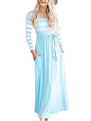 Price comparison product image Vabecid Casual Women Long Sleeve Striped Patchwork Tunic Vintage Maxi Dress with Pockets Belt (L,  Light Blue)
