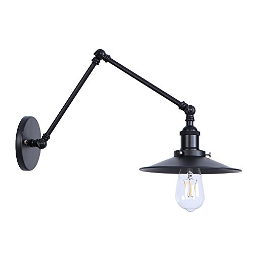 Modern Wall Sconce Vintage Swing Arm Wall-Lamps Industrial Edison Loft Decor Wall-Lights Matte Black