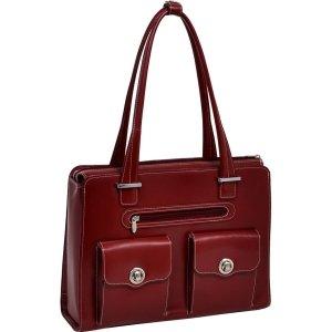 McKleinUSA VERONA 96626 Red Leather Fly-Through Checkpoint-Friendly Ladies' Briefcase by McKleinUSA