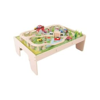 Bigjigs Rail Services Train Set And Table   Other Major Wooden Rail Brands  Are Compatible