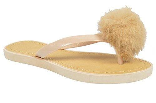 Stylish Comfy House Slipper Beige Small Wedge Open-Toe Faux Fur Pom Pom Top Fun Thong Flip Flop Flat Beach Sandal Plastic Dressy Indoor For Sale Teen Girl (Size 7 Beige) (Fun Pom Poms)