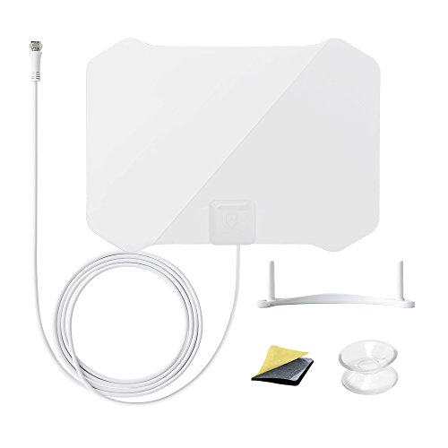 ANTOP Paper Thin AT-133 High Gain Indoor TV Antenna with Table Stand - 35 Mile Long Range 360 Degree Reception for OTA High Definition Televisions/4K UHD TVs - Piano White - 10ft Coaxial Cable