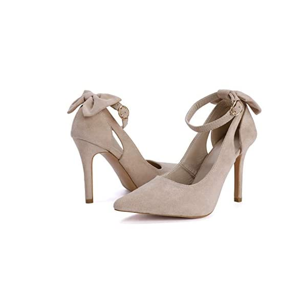 Fashare Womens High Heels Bow Tie Back Sexy Stiletto Ankle Strap Wedding Dress Pumps Shoes