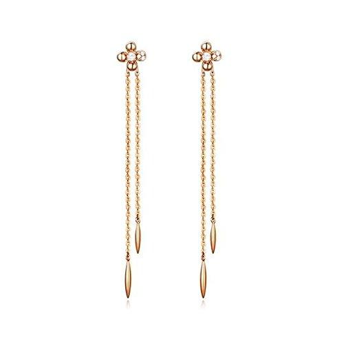 Beydodo 1.18g 18K Rose Gold Dangle Earrings for Womens Flowers Tassel Pendant Earrings Drop for Wedding by Beydodo