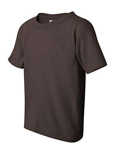 Gildan boys Heavy Cotton T-Shirt(G500B)-DARK CHOCOLATE-S - Apparel Big Kids Brown Chocolate