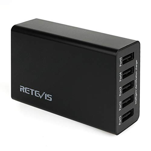 Retevis Retevis 5-Port USB Wall Charger 40W/8A Desktop Multi Charger Station Compatible Retevis H-777 RT27 RT7 RT22 H-777S Baofeng BF-888S Arcshell AR-5 Walkie Talkies(1 Pack) price tips cheap