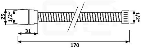170/cm tubo flessibile per doccia 1//2/pollici tubo doccia flessibile doccia bagno doccia liscia