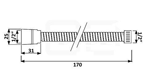 170cm Duschschlauch 1//2 Zoll Brauseschlauch glatt flexibel Brause Dusche Bad