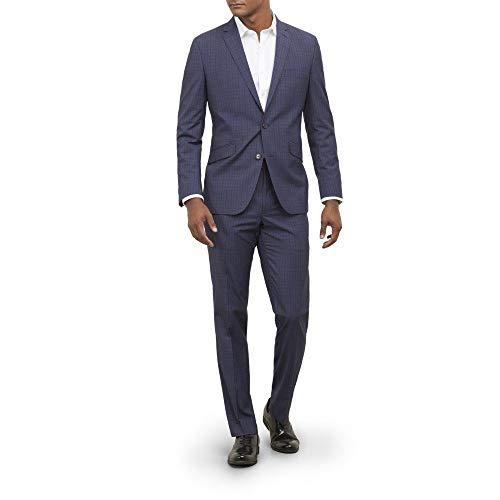 Kenneth Cole REACTION Men's Slim Fit Performance Suit with Stretch, Denim Box Plaid, 40R ()