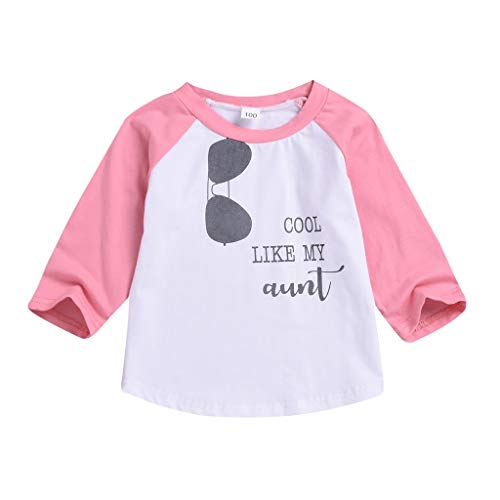 Toddler Infant Baby Girls Boys Sunglasses Letter Print Pullover Tops Little Kid Sweatshirt Tee (12-18Months, Pink)