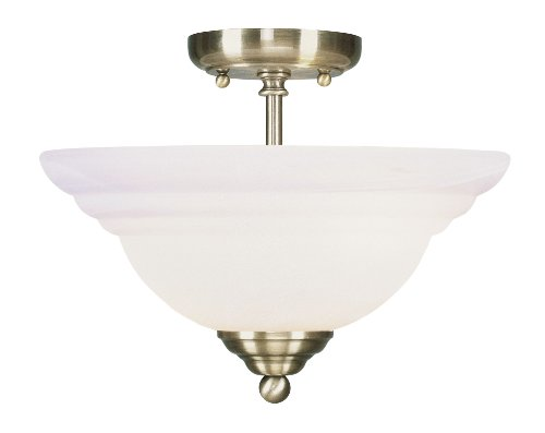Livex Lighting 4259-01 Flush Mount with White Alabaster Glass Shades, Antique Brass
