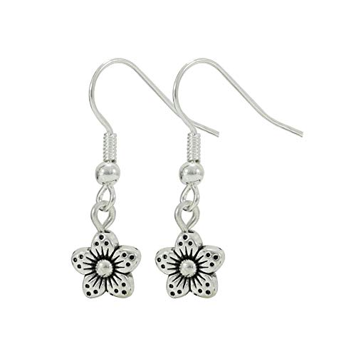 Silver Tone Tiny Daisy Flower Earrings, Small Jewelry, Handmade Fishhook Dangle Women's Set