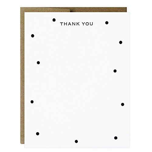 Thank You Notes with Polka Dots Letterpress Printed - 5 pack Polka Note
