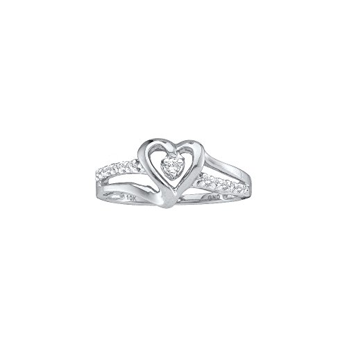 14kt White Gold Womens Round Diamond Solitaire Heart Ring 1/8 Cttw (I2-I3 clarity; J-K (Gold Heart Diamond Solitaire Ring)
