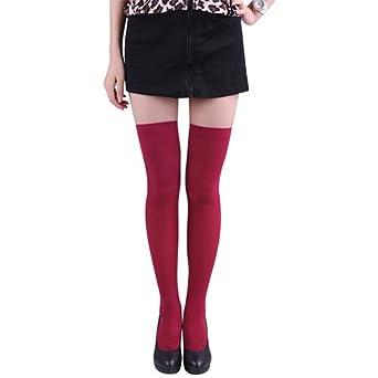 iodvfs Linda Color puro Opaco Muslo medias altas Chicas adolescentes Calcetines Sobre la rodilla