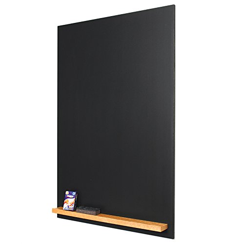The Original Portrait 48''h x 24''w Unframed magnetic porcelain Chalkboard with clean black edge and Natural Oak Tray by New York Blackboard