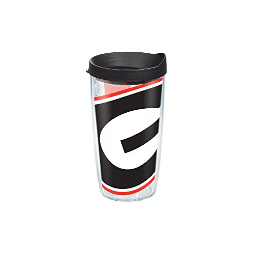 Tervis 1084714 Georgia University Colossal Wrap Individual Tumbler with Black lid, 16 oz, Clear