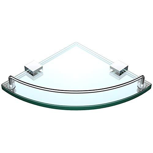 [Updated]VDOMUS Tempered Glass Bath Corner Shelf Bathroom Shower Organizer Storage Brackets Wall Mounted