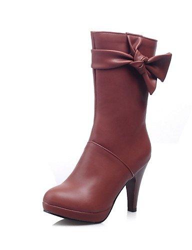 Xzz Trabajo Redonda negro 5 Cn38 Cerrada Casual Zapatos Punta De Mujer Uk6 Brown us7 Y Tacón Uk5 Cono Vestido Eu38 Eu39 Botas Cn39 Brown Oficina Cuero Sintético us8 5 PPpYqrw