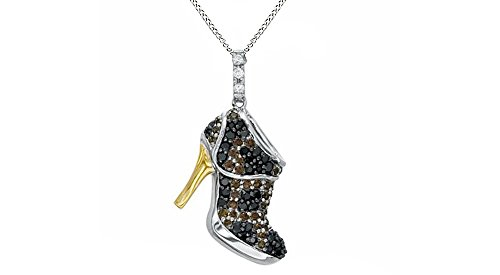 Jewel Zone US Black, Champagne White Natural Diamond High Heel Pendant Necklace 925 Sterling Silver (1/2 ()