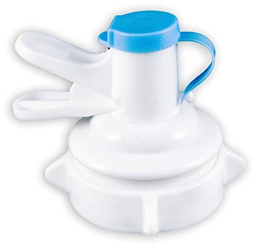 (Molpal Water Dispenser Valve for 55mm Non Threaded Crown Top Jug | 2 Pack - Gallon Water Bottle Cap Reusable Plastic Spigot Faucet - Includes Lid Dirt Protector)