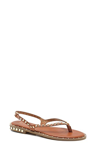 YourPrimeOutlet Womens Amy Studded Detail Thong Sling Back Sandals Tan