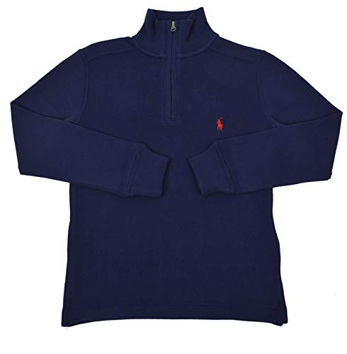 Polo Ralph Lauren Boys Kids Ribbed Half Zip Cotton Sweater Navy Blue (Small (8))