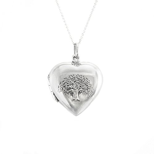 Silverly Womens .925 Sterling Silver Tree of Life Heart Locket Necklace, 46 cm