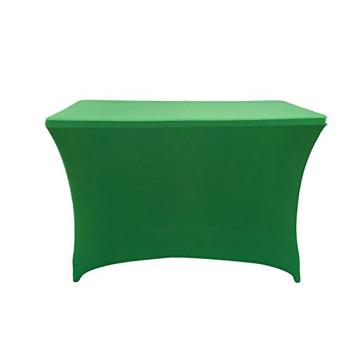 Rectangular Stretch Spandex Table Cover Fitted Tablecloth for Wedding Party Events (4ft, Green) ()