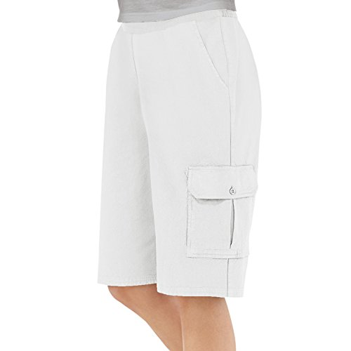 Garden Back Collection - Collections Etc Women's Elastic Waist Cargo Pocket Short, White, Small