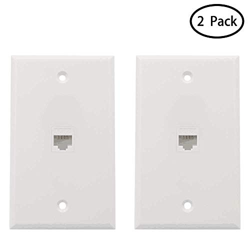 (MicVista CT03 Ethernet Wall Plate 1 Port, Cat6 Ethernet Cable Wall Plate Female to Female Pack of 2 - White)