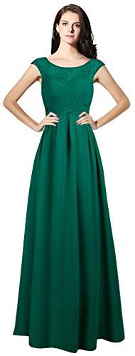 - VaniaDress Jewel Neck Cap Sleeves Long Bridesmaid Gown Evening Dress V067LF Teal Green US16