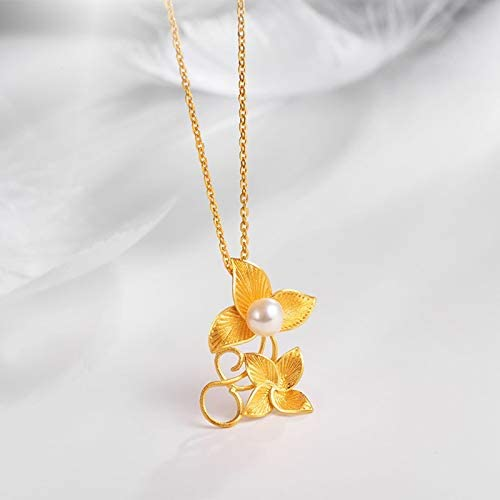 Gnzoe Women Necklace 18ct Yellow Gold Pendant Necklaces for Women Flower Shaped Leaves Pearl Necklace Gold