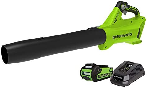 Greenworks 2411902 40 Volt 450 CFM 125 MPH Cordless Electric Battery Powered Leaf Blower with Battery and Charger Included