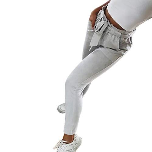 Larghi Estiva Slim joy Righe Eleganti Casual Fit Vita Grigio Club Striscia athletic Ufficio Alta Ode Pantalone Donna A Alta Pantaloni gOpcTnZTB