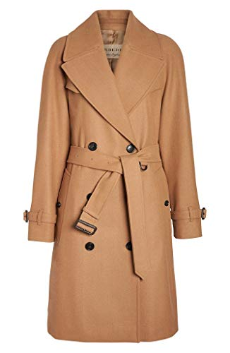 - BURBERRY Cranston Wool Blend Belted Double Breasted Trench Coat in Camel