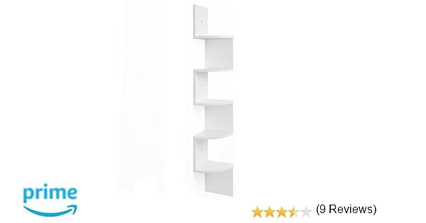 VASAGLE Estantería para Esquina, Estantería Colgante de 5 Niveles, Estantería de Pared con Diseño en Zigzag, Estantería para Libros, Blanco LBC20WT: ...