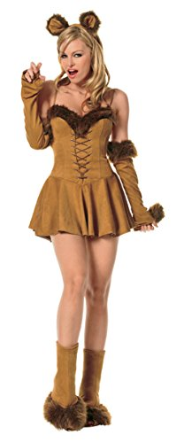 Cowardly Lioness Costume (Leg Avenue Womens Lion Cuddly Cowardly Lioness Outfit Fancy Dress Sexy Costume, XS (0-2))