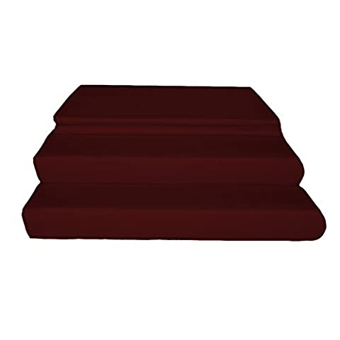 Just Linen 400 Thread Count 100% Egyptian Quality Cotton Sateen, Solid Wine, Queen Bedding Sheet Set with Deep Pocketed Fitted - Solid Sateen Sheets