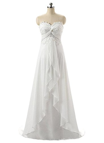 Nitree Women's Sweetheart Chiffon Long Beach Wedding Dress Bridal Gown Ivory 12