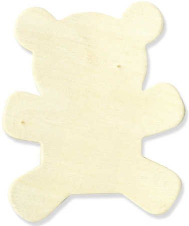 Smooth Unfinished Sitting Teddy Bear Wood Cutout- Package of 24 ()