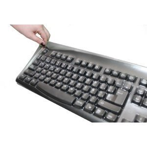 Keyboard and Protectivre Cover: Japanese English - Wired USB Computer Keyboard (Black Keyboard with White Letters) Bundled With PolyUrethane Transparent Cover
