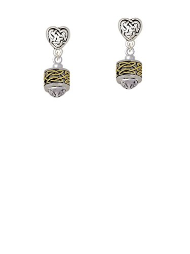 Two-tone Celtic Knot Band Two-tone Spinner - Celtic Heart Earrings
