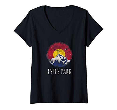 Womens Vintage Colorado Flag Estes Rocky Mountain National Park V-Neck T-Shirt