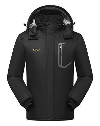 Mden Men's Insulated Jacket Snowboard Hooded Waterproof Mountain Ski Jacket Winter Coat(Black, X-Large)