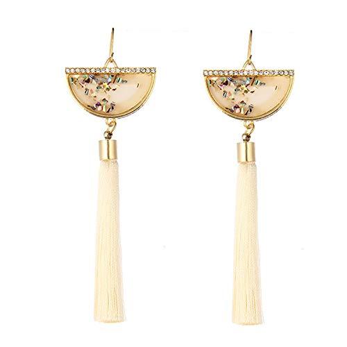 Handmade Sector Tassel Earrings 2019 Trendy Black Red Yellow Green Long Dangles Ear Brincos Silk Fringed Jewellery For Women,beige