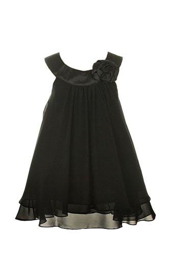 Tiered Satin Dress Black - 6