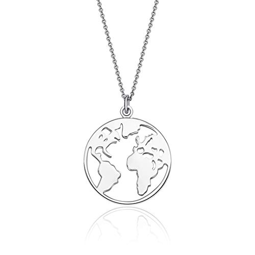 CherLove World Map Necklace, Sterling Silver Travel Necklace Earth Wanderlust Necklace Graduation Gift (World Globe Necklace)