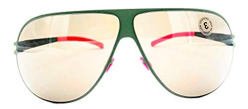 Mykita Bernhard Willhelm HUBERT Olive and Neon Pink Mirror Shield ()